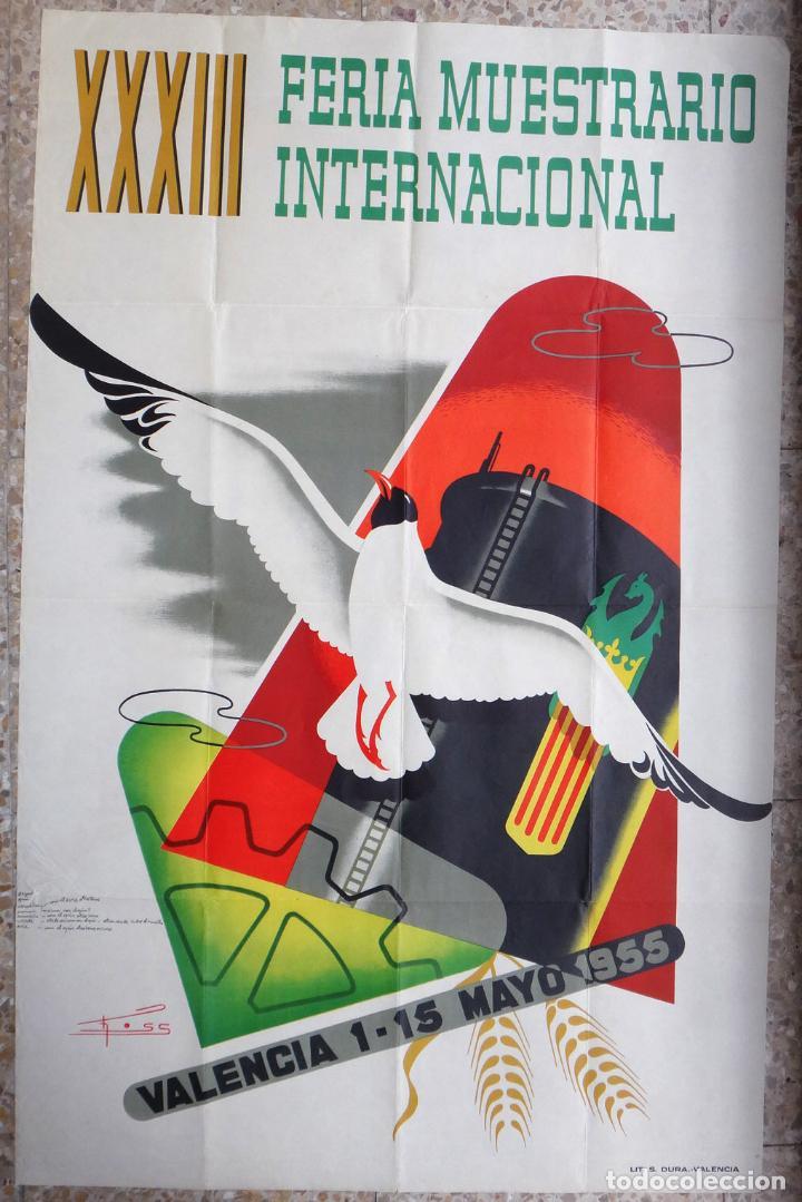 CARTEL FERIA MUESTRARIO INTERNACIONAL VALENCIA, 1955 , CROSS , ORIGINAL ,FMV (Coleccionismo - Carteles Gran Formato - Carteles Ferias, Fiestas y Festejos)