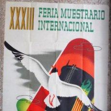 Carteles Feria: CARTEL FERIA MUESTRARIO INTERNACIONAL VALENCIA, 1955 , CROSS , ORIGINAL ,FMV. Lote 140150022