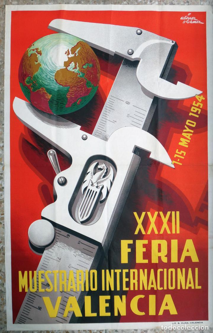 CARTEL FERIA MUESTRARIO INTERNACIONAL VALENCIA, 1954 , ALVAREZ GAMEZ , ORIGINAL ,FMV (Coleccionismo - Carteles Gran Formato - Carteles Ferias, Fiestas y Festejos)