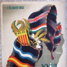 Carteles Feria: CARTEL FERIA MUESTRARIO INTERNACIONAL VALENCIA, 1953 , ALVAREZ GAMEZ , ORIGINAL ,FMV. Lote 140150442
