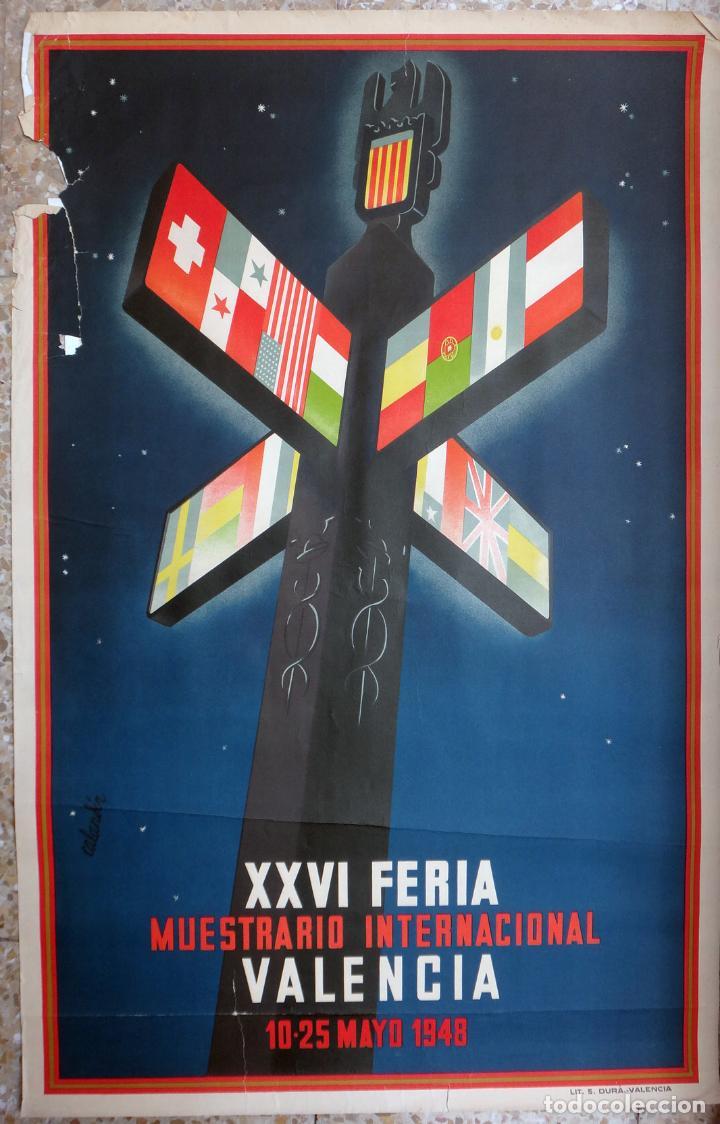 CARTEL FERIA MUESTRARIO INTERNACIONAL VALENCIA, 1948 , CALANDIN , ORIGINAL ,FMV (Coleccionismo - Carteles Gran Formato - Carteles Ferias, Fiestas y Festejos)