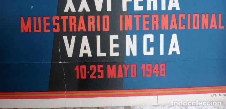 Carteles Feria: CARTEL FERIA MUESTRARIO INTERNACIONAL VALENCIA, 1948 , CALANDIN , ORIGINAL ,FMV - Foto 3 - 140163546