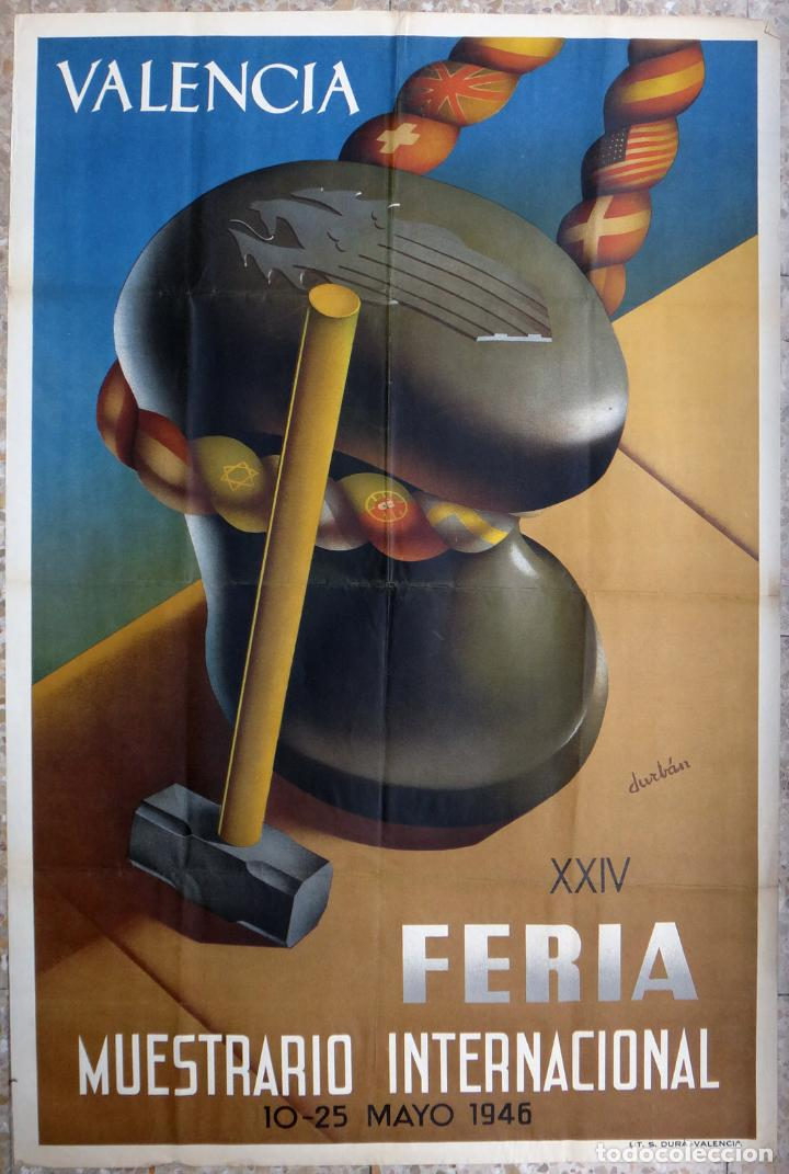 CARTEL FERIA MUESTRARIO INTERNACIONAL VALENCIA, 1946 , DURBAN , ORIGINAL ,FMV (Coleccionismo - Carteles Gran Formato - Carteles Ferias, Fiestas y Festejos)