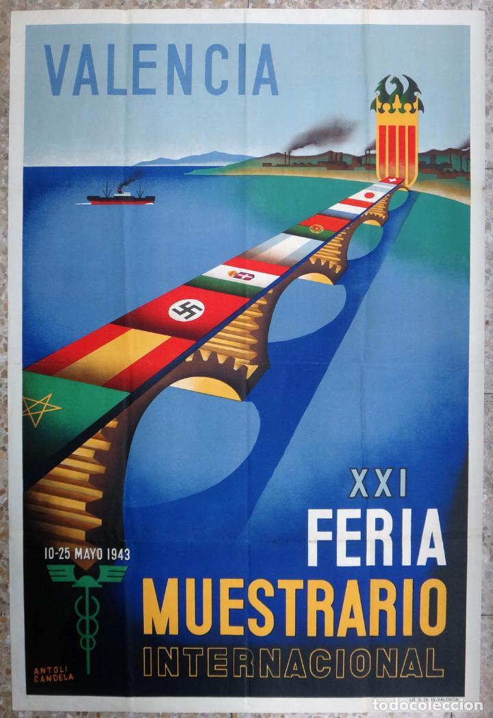 CARTEL FERIA MUESTRARIO INTERNACIONAL VALENCIA, 1943 , ANTOLI CANDELA , ORIGINAL ,FMV (Coleccionismo - Carteles Gran Formato - Carteles Ferias, Fiestas y Festejos)