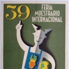 Carteles Feria: CARTEL FERIA MUESTRARIO INTERNACIONAL VALENCIA , 1961 , MONTES , MEDIANO , ORIGINAL ,FMV. Lote 140313554
