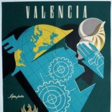 Carteles Feria: CARTEL FERIA MUESTRARIO INTERNACIONAL VALENCIA , 1959 , LOPEZ PABON , MEDIANO , ORIGINAL ,FMV. Lote 140314338