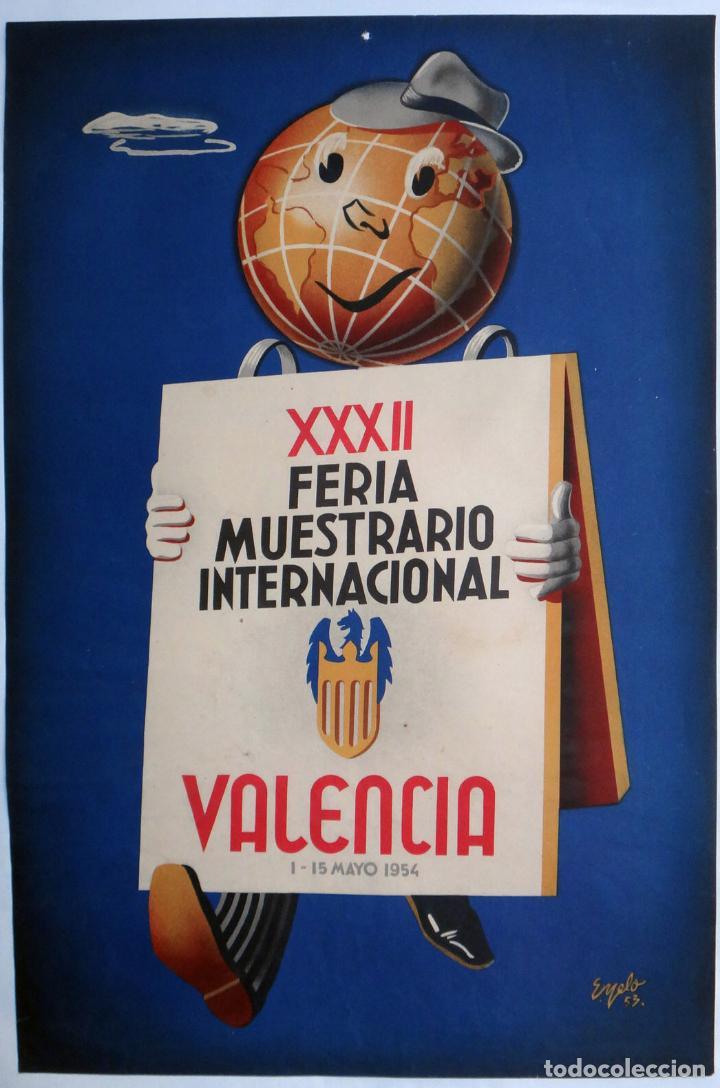 CARTEL FERIA MUESTRARIO INTERNACIONAL VALENCIA , 1954 , EYELO , MEDIANO , ORIGINAL ,FMV (Coleccionismo - Carteles Gran Formato - Carteles Ferias, Fiestas y Festejos)