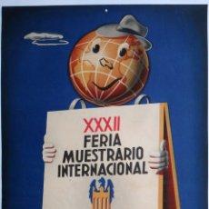 Carteles Feria: CARTEL FERIA MUESTRARIO INTERNACIONAL VALENCIA , 1954 , EYELO , MEDIANO , ORIGINAL ,FMV. Lote 140314810