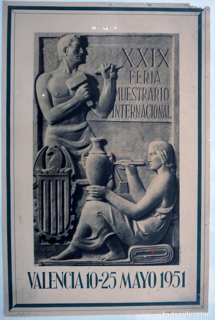 CARTEL FERIA MUESTRARIO INTERNACIONAL VALENCIA , 1951 , MEDIANO , ORIGINAL ,FMV (Coleccionismo - Carteles Gran Formato - Carteles Ferias, Fiestas y Festejos)