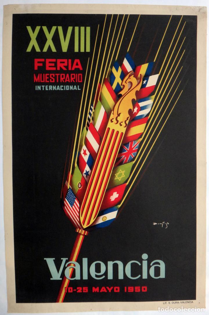 Carteles Feria: CARTEL FERIA MUESTRARIO INTERNACIONAL VALENCIA , 1951 , MEDIANO , ORIGINAL ,FMV - Foto 3 - 140315190