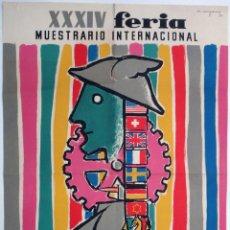 Carteles Feria: CARTEL FERIA MUESTRARIO INTERNACIONAL VALENCIA , 1956 , COMPANY , MEDIANO , ORIGINAL ,FMV. Lote 140316246