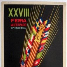 Carteles Feria: CARTEL FERIA MUESTRARIO INTERNACIONAL VALENCIA , 1950 , DOMINGO , MEDIANO , ORIGINAL ,FMV. Lote 140316466