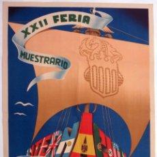 Carteles Feria: CARTEL FERIA MUESTRARIO INTERNACIONAL VALENCIA , 1944 , MASIA , MEDIANO , ORIGINAL ,FMV. Lote 140316802