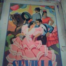 Carteles Feria: ORIGINAL CARTEL DE FERIA SEVILLA PRIMAVERA ,SEMANA SANTA 1946 , BAENA . Lote 140868570