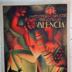 Carteles Feria: CARTEL FALLAS DE VALENCIA , 1940 , MUY RARO , LITOGRAFIA , FULGENCIO , ORIGINAL , PF. Lote 140892002