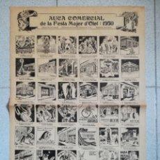 Carteles Feria: CARTEL AUCA COMERCIAL DE LA FESTA MAJOR D'OLOT 1950 - RODOLINS JOAN CASULÀ CAMPANER DEL FLUVIÀ. Lote 142169229