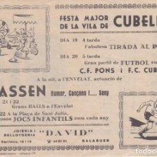 Carteles Feria: FOLLETO FESTA MAJOR DE LA VILA DE CUBELLS 1978, LERIDA. Lote 142726270