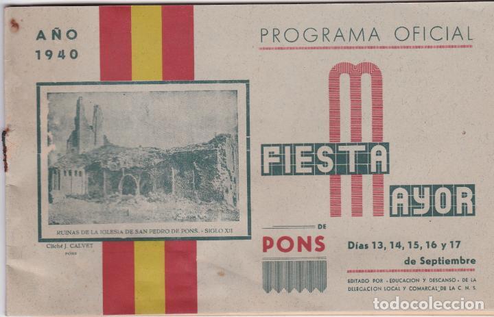 PROGRAMA FIESTA MAYOR DE PONS 1940, LERIDA (Coleccionismo - Carteles Gran Formato - Carteles Ferias, Fiestas y Festejos)