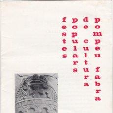 Carteles Feria: PROGRAMA FESTES POPULARS DE CULTURA POMPEU FABRA, PONTS, 1972. Lote 142729186