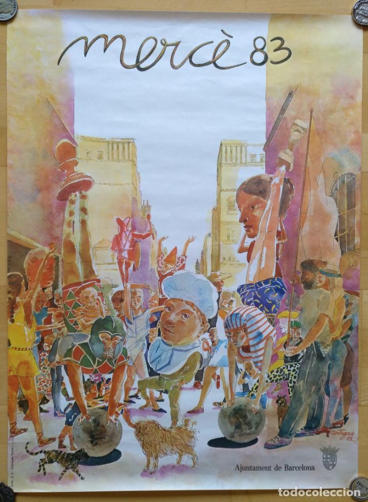 CARTEL MERCE 1983 AJUNTAMENT DE BARCELONA ILUSTRACION ARTIGAU 56 X 66 CM (APROX) (Coleccionismo - Carteles Gran Formato - Carteles Ferias, Fiestas y Festejos)