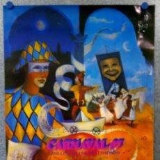 Carteles Feria: CARTEL CARNAVAL FEBRERO- BOLLULLOS PAR DEL CONDADO, HUELVA - AÑOS 90. Lote 143289794