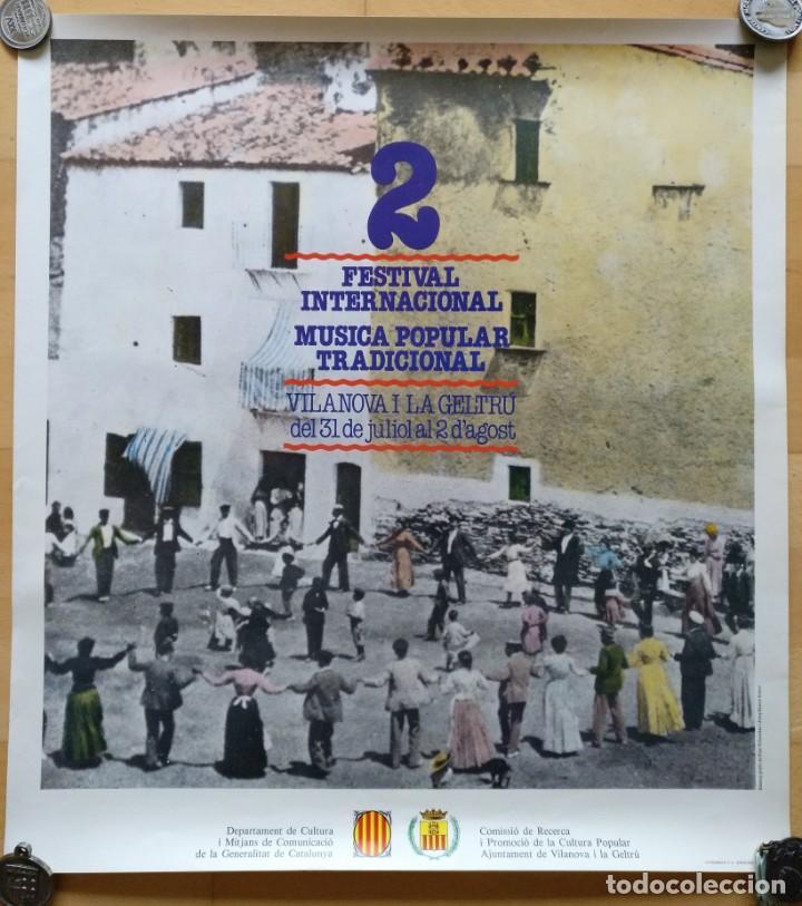 CARTEL 2 FESTIVAL INTERNACIONAL MUSICA POPULAR TRADICIONAL VILANOVA I LA GELTRU 1982 (Coleccionismo - Carteles Gran Formato - Carteles Ferias, Fiestas y Festejos)