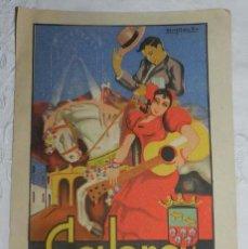 Carteles Feria: CARTEL DE CABRA. CORDOBA. REAL FERIA EGABRENSE DE GANADOS. 1942. ILUSTRADOR: NAVAJAS DEL RIO. LIT. A. Lote 145476234