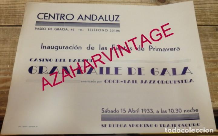 BARCELONA, 1933, CARTEL INAUGURACION FIESTAS DE PRIMAVERA, CENTRO ANDALUZ, 28X22 CMS, MUY RARO (Coleccionismo - Carteles Gran Formato - Carteles Ferias, Fiestas y Festejos)
