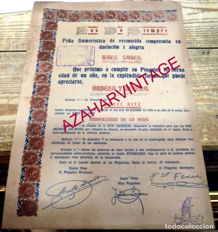 BARCELONA, 1934, CARTEL CELEBRACION ANIVERSARIO PEÑA HUMORISTICA LOS DE SIEMPRE, RITZ, 22X32 CMS (Coleccionismo - Carteles Gran Formato - Carteles Ferias, Fiestas y Festejos)
