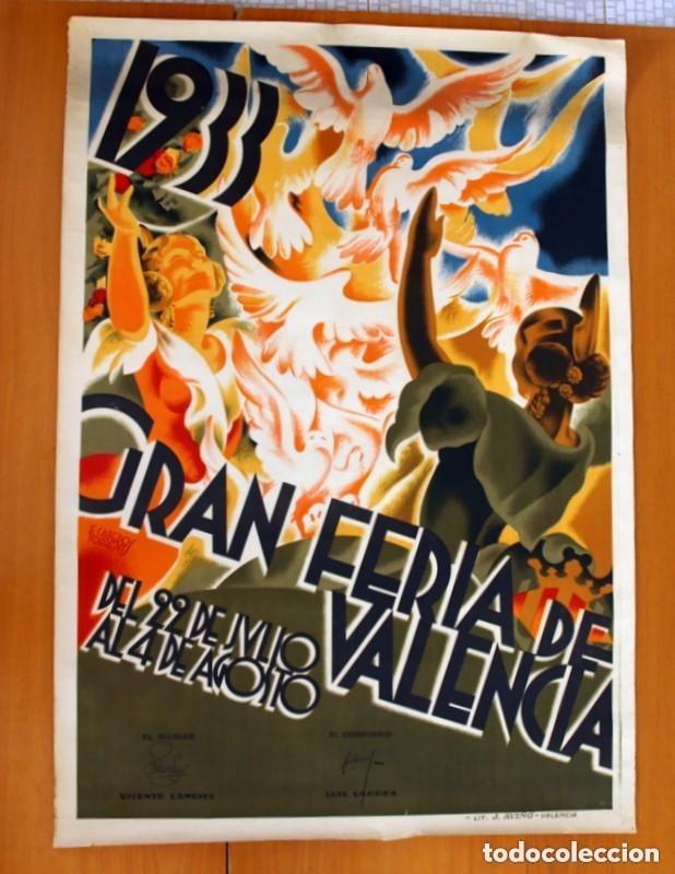 CARTEL FERIA DE VALENCIA DE 1933 - TAMAÑO 100X70 (Coleccionismo - Carteles Gran Formato - Carteles Ferias, Fiestas y Festejos)