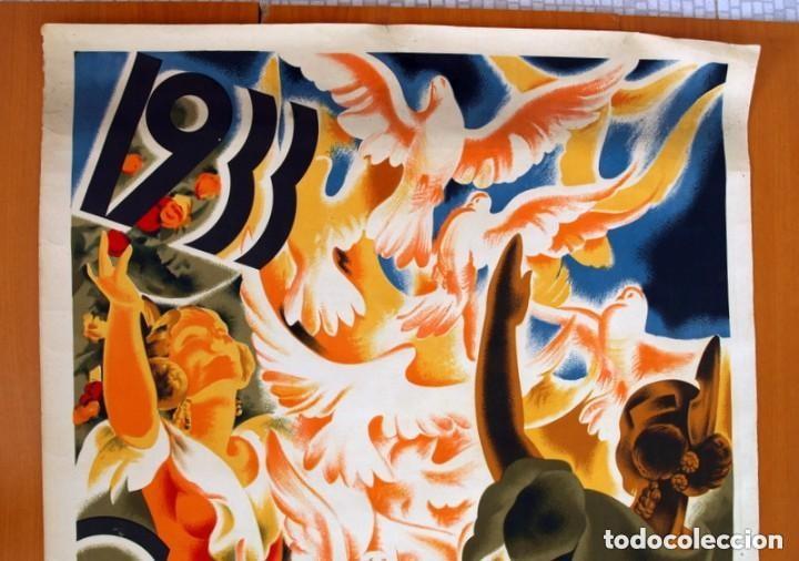 Carteles Feria: Cartel Feria de Valencia de 1933 - Tamaño 100x70 - Foto 2 - 146220822