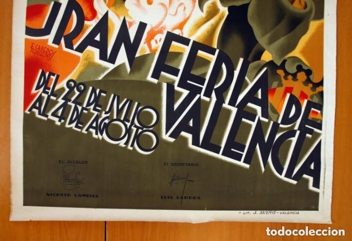 Carteles Feria: Cartel Feria de Valencia de 1933 - Tamaño 100x70 - Foto 3 - 146220822