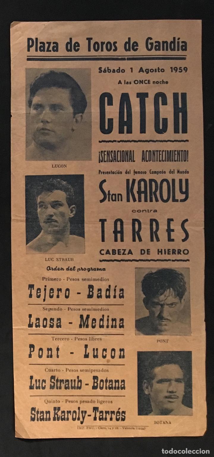 CARTEL PLAZA DE TOROS GANDIA LUCHA-CATCH 1959 TARRES STAN KAROLY (Coleccionismo - Carteles Gran Formato - Carteles Ferias, Fiestas y Festejos)