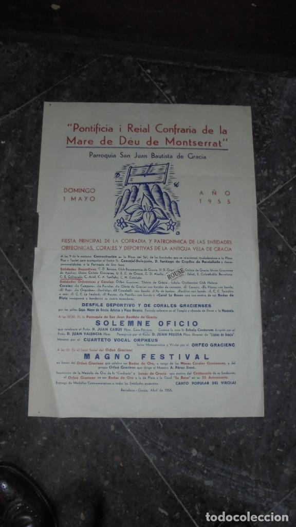 CARTEL 1955 ''PONTIFICIA I REIAL COFRADIA DE LA MARE DE DÉU DE MONTSERRAT FIESTA PRINCIPAL DE LA COF (Coleccionismo - Carteles Gran Formato - Carteles Ferias, Fiestas y Festejos)