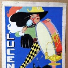 Carteles Feria: PROYECTO CARTEL FIESTAS 1960 DE LUCENA CORDOBA ACUARELA ORIGINAL . Lote 147990298