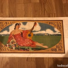 Carteles Feria: CARTEL SEVILLA 1914 SEDA FIESTAS PRIMAVERALES SEMANA SANTA 1914 MUY DECORADO JUAN LAFITA COLOR B.E.. Lote 148029366