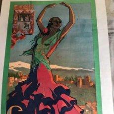 Carteles Feria: GRANADA 1928-FIESTAS DEL CORPUS CHRISTI Y FERIA REAL-LIT ANEL-ROSARIO 13-GRANADA. Lote 148038002