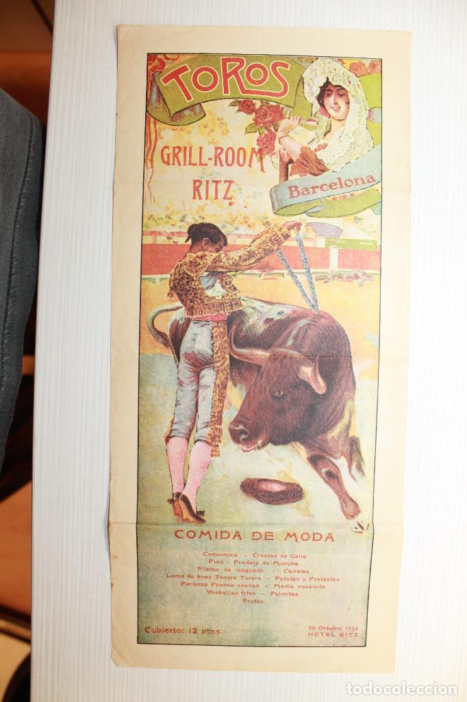 CARTEL HOTEL RITZ, TAUROMÁQUIA, 1924, 35X16 CM (Coleccionismo - Carteles Gran Formato - Carteles Ferias, Fiestas y Festejos)