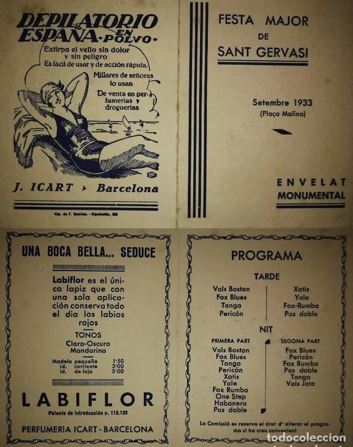 1933 FESTA MAJOR DE SANT GERVASI. PLAÇA MOLINA. PUBLICIDAD DEPILATORIO ESPAÑA EN POLVO. J.ICART. (Coleccionismo - Carteles Gran Formato - Carteles Ferias, Fiestas y Festejos)