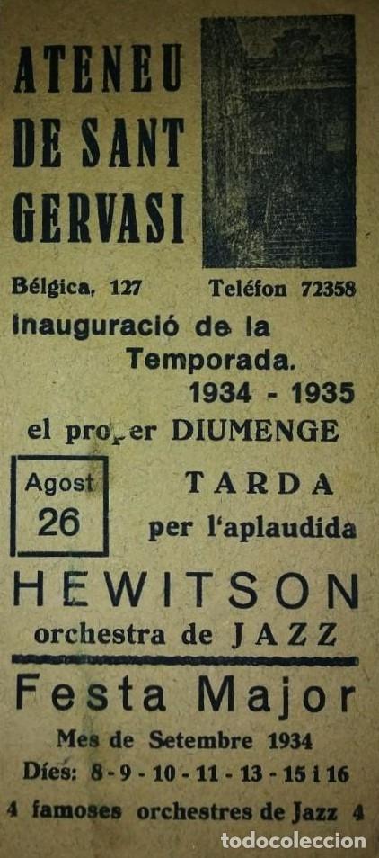 1934 - 1935 ATENEU DE SANT GERVASI INAUGURACIÓ TEMPORADA 1934-1935 FESTA MAJOR HEWITSON JAZZ (Coleccionismo - Carteles Gran Formato - Carteles Ferias, Fiestas y Festejos)