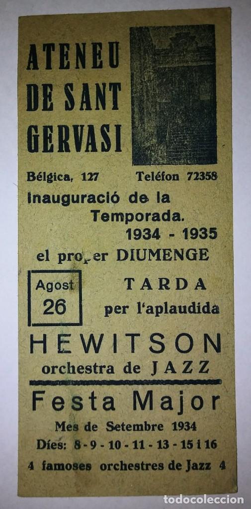 Carteles Feria: 1934 - 1935 Ateneu de Sant Gervasi Inauguració temporada 1934-1935 Festa major Hewitson Jazz - Foto 2 - 119540467