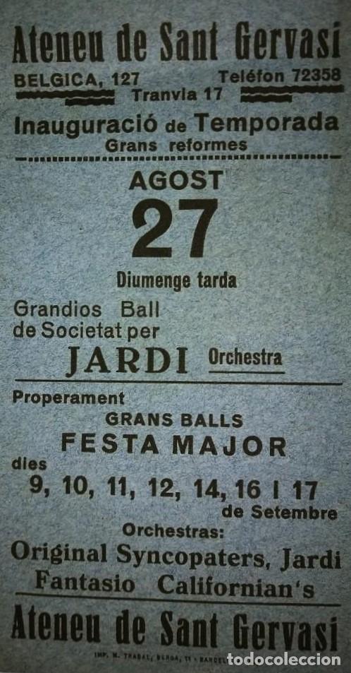 ATENEU DE SANT GERVASI. INAUGURACIÓ TEMPORADA. FESTA MAJOR (Coleccionismo - Carteles Gran Formato - Carteles Ferias, Fiestas y Festejos)