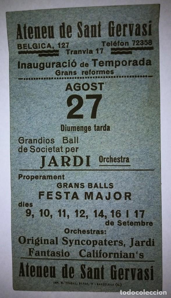 Carteles Feria: Ateneu de Sant Gervasi. Inauguració temporada. Festa major - Foto 2 - 119540647