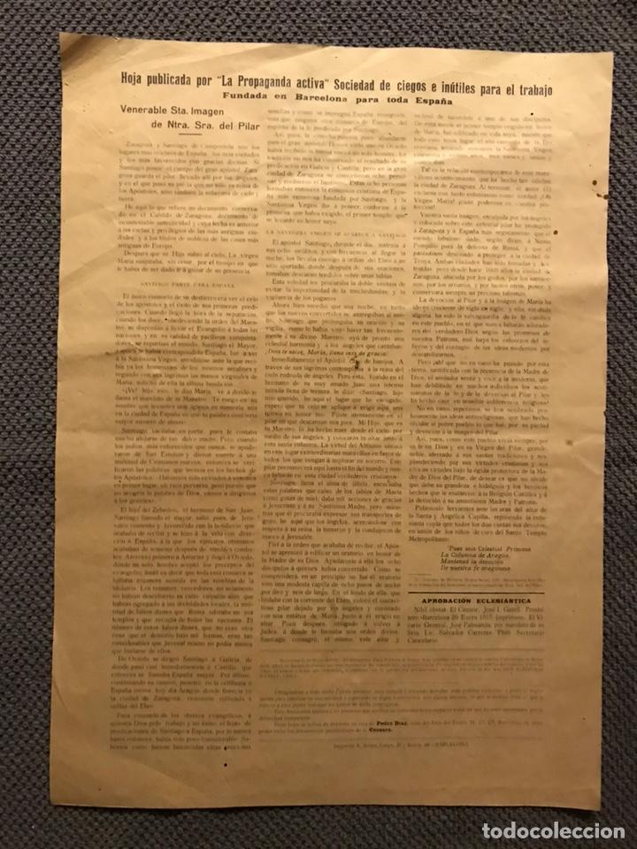 Carteles Feria: LA VIRGEN DEL PILAR, propaganda activa, sociedad de ciegos e inutiles para el trabajo (h.1910?) - Foto 2 - 150855425