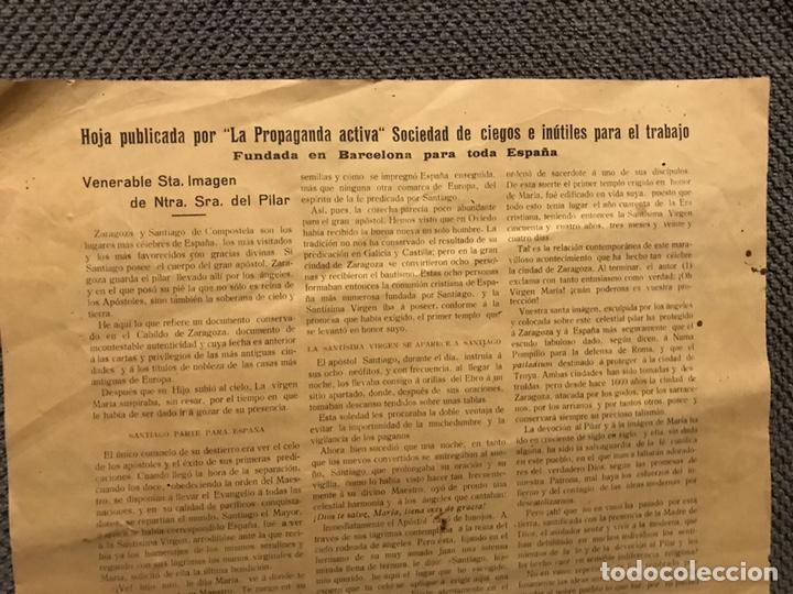 Carteles Feria: LA VIRGEN DEL PILAR, propaganda activa, sociedad de ciegos e inutiles para el trabajo (h.1910?) - Foto 3 - 150855425