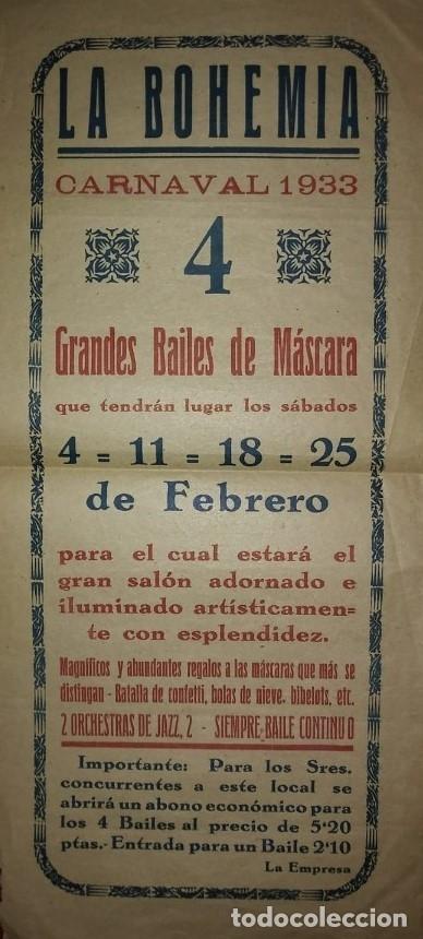 1933 CARNAVAL - LA BOHEMIA - BAILES DE MASCARAS - CARTEL PUBLICITARIO CARNAVAL 32,5CM X 15CM (Coleccionismo - Carteles Gran Formato - Carteles Ferias, Fiestas y Festejos)