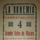 Carteles Feria: 1933 CARNAVAL - LA BOHEMIA - BAILES DE MASCARAS - CARTEL PUBLICITARIO CARNAVAL 32,5CM X 15CM. Lote 118273143