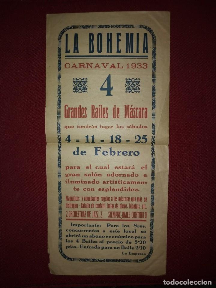 Carteles Feria: 1933 CARNAVAL - LA BOHEMIA - BAILES DE MASCARAS - CARTEL PUBLICITARIO CARNAVAL 32,5cm x 15cm - Foto 2 - 118273143