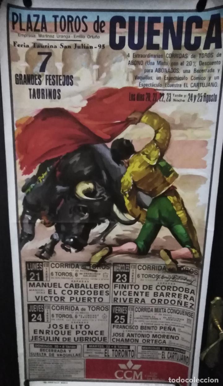 CARTEL. PLAZA DE TOROS DE CUENCA. FERIA TAURINA SAN JULIAN 1995. (Coleccionismo - Carteles Gran Formato - Carteles Ferias, Fiestas y Festejos)