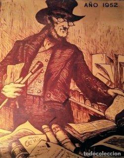 Cartel original en madera de la Feria del libro de Barcelona 1952
